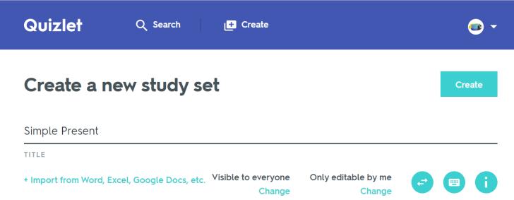 Create a new study set