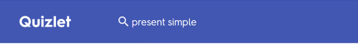 Quizlet search box present simple
